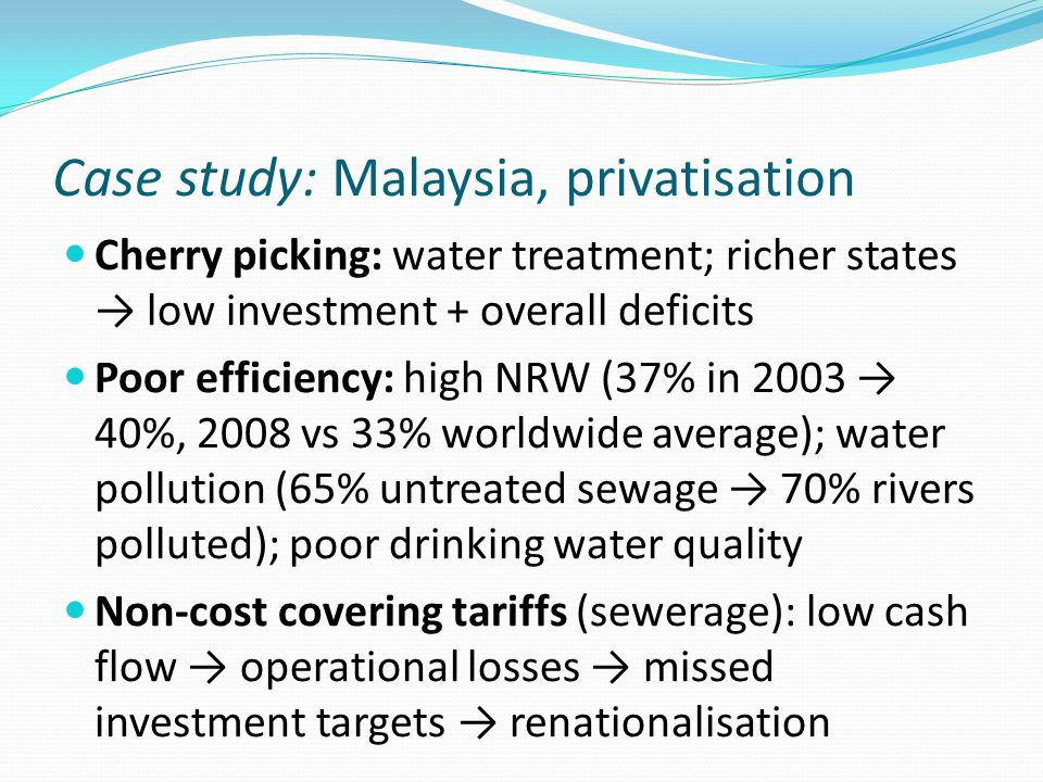 Case study: Malaysia, privatisation