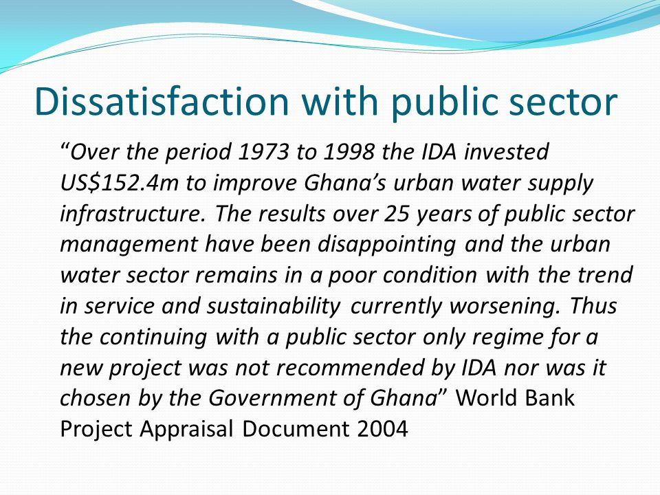 Dissatisfaction with public sector
