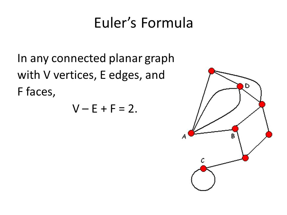 Worksheet Eulers Formula Vertices Faces Edges the infamous five color theorem ppt video online download 13 eulers formula in any connected planar graph with v vertices e edges and f faces 2