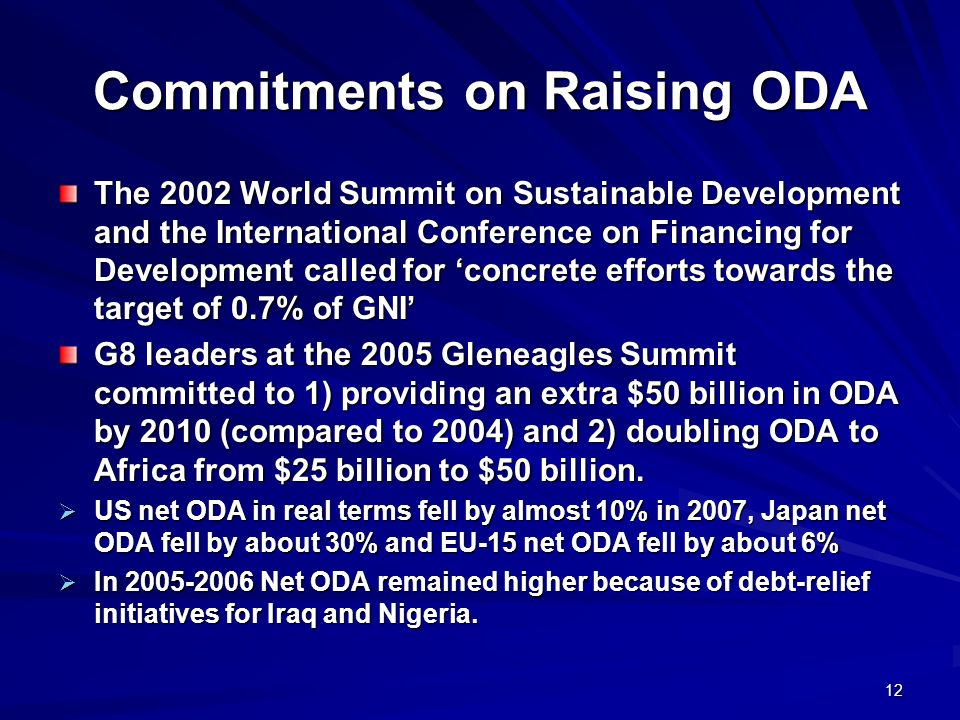 Commitments on Raising ODA