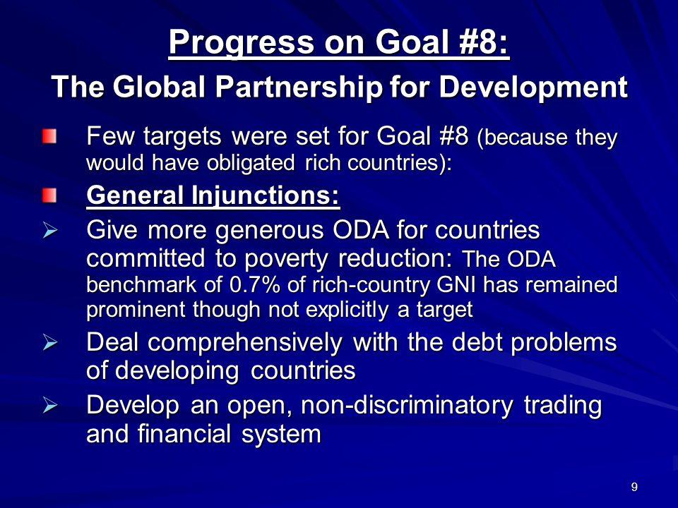 Progress on Goal #8: The Global Partnership for Development