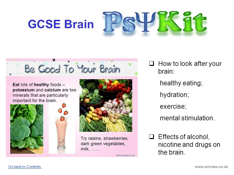 GCSE Brain How to look after your brain: healthy eating; hydration;