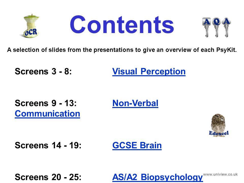 Screens 3 - 8: Visual Perception