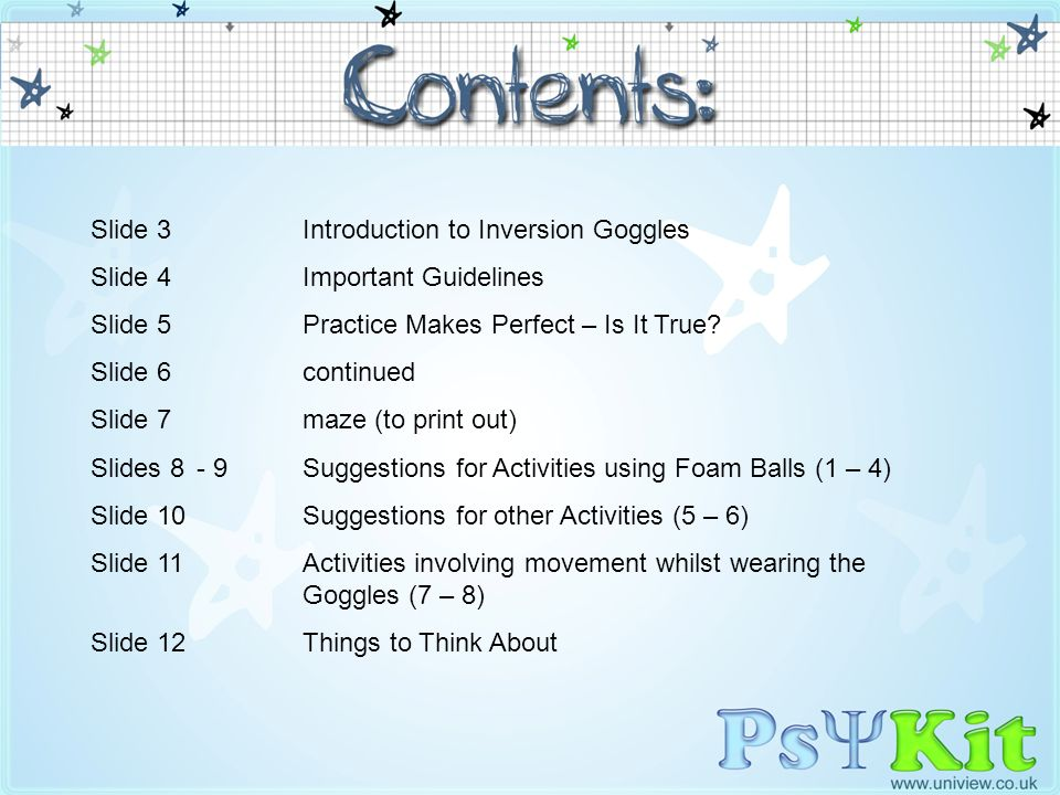 Slide 3 Introduction to Inversion Goggles Slide 4 Important Guidelines