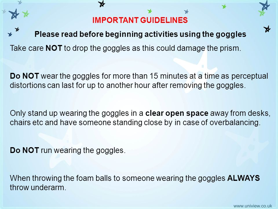 Please read before beginning activities using the goggles