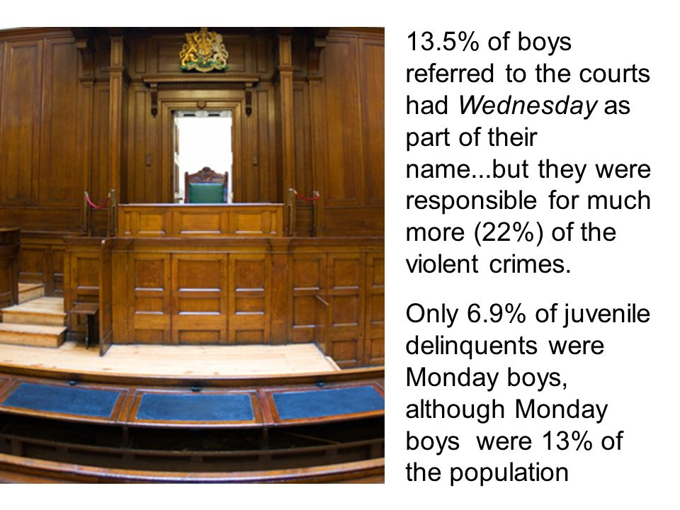 13.5% of boys referred to the courts had Wednesday as part of their name...but they were responsible for much more (22%) of the violent crimes.