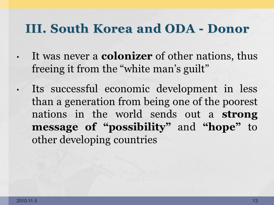 III. South Korea and ODA - Donor