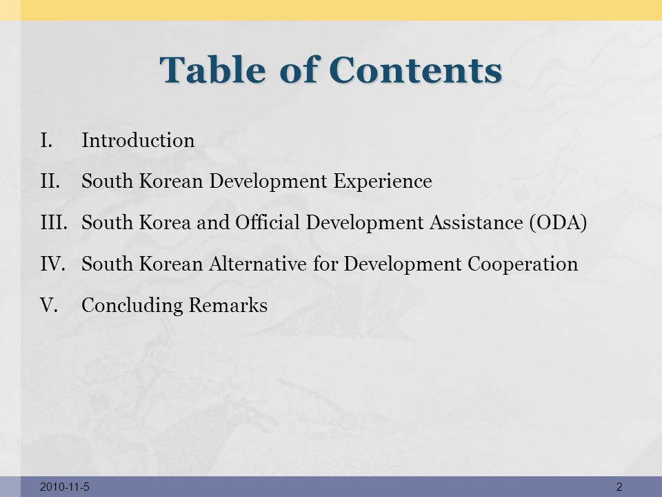 Table of Contents Introduction South Korean Development Experience