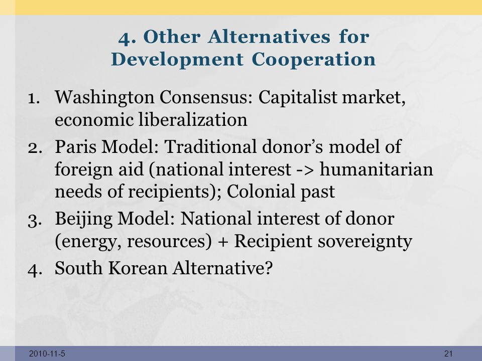 4. Other Alternatives for Development Cooperation