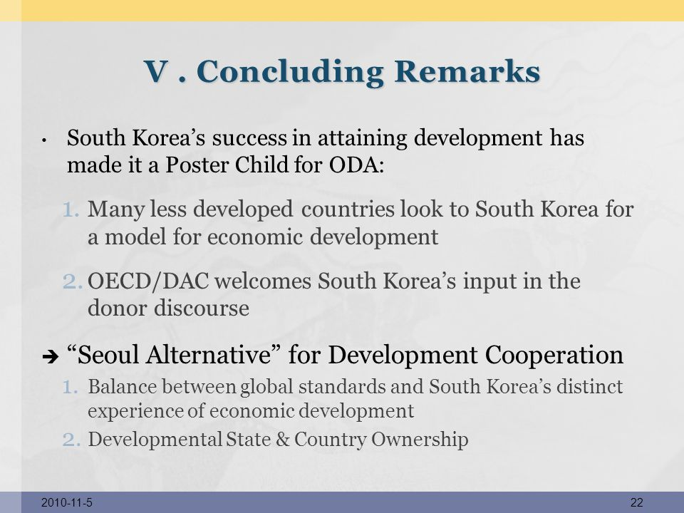 V . Concluding Remarks Seoul Alternative for Development Cooperation