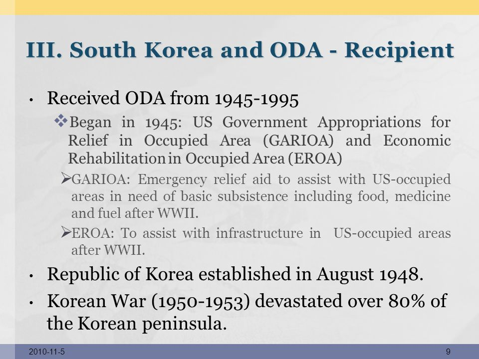 III. South Korea and ODA - Recipient