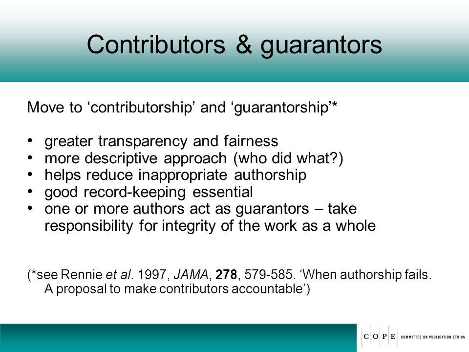Contributors & guarantors