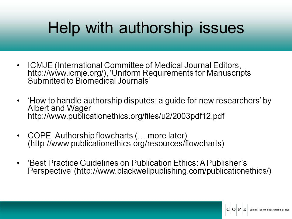 Help with authorship issues