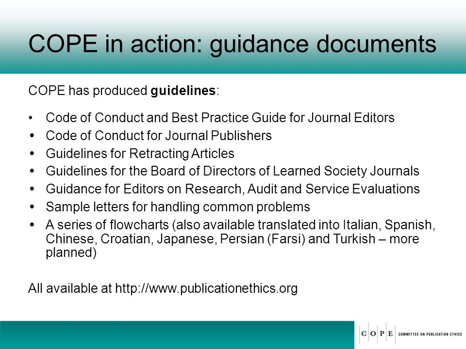 COPE in action: guidance documents