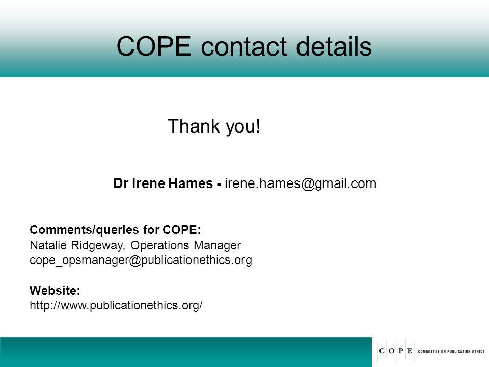 Dr Irene Hames - irene.hames@gmail.com