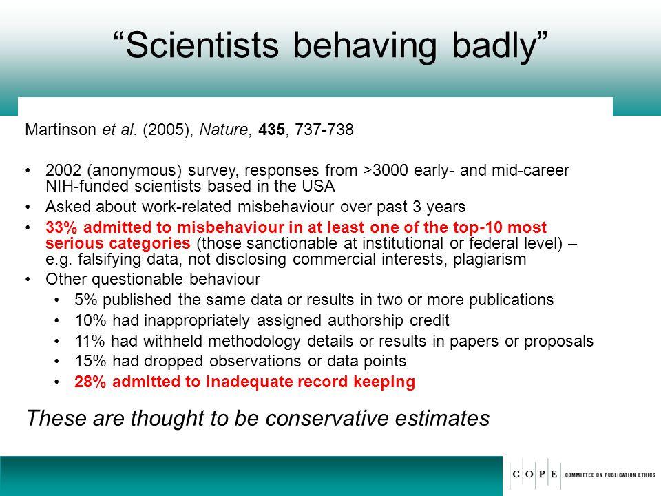 Scientists behaving badly