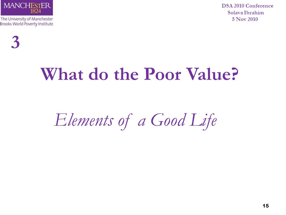 3 What do the Poor Value Elements of a Good Life 15 15