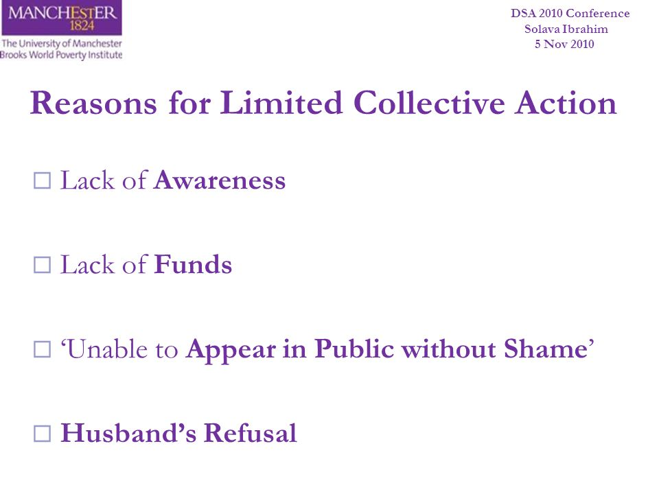 Reasons for Limited Collective Action