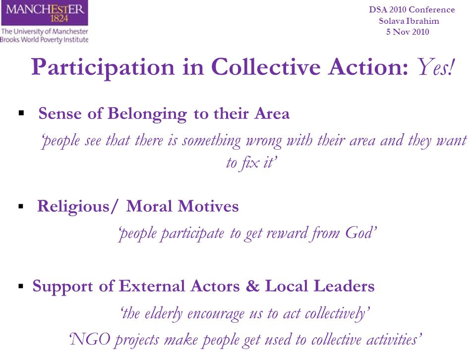 Participation in Collective Action: Yes!