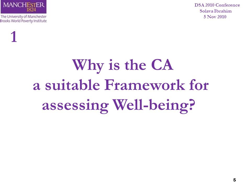 a suitable Framework for assessing Well-being