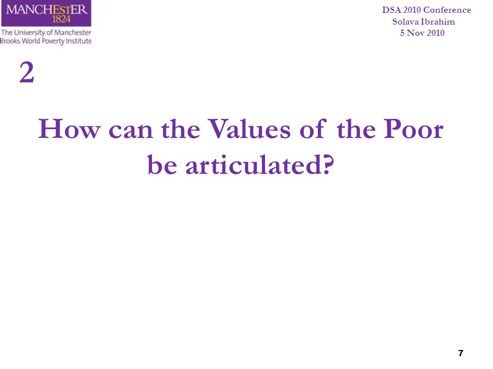 How can the Values of the Poor