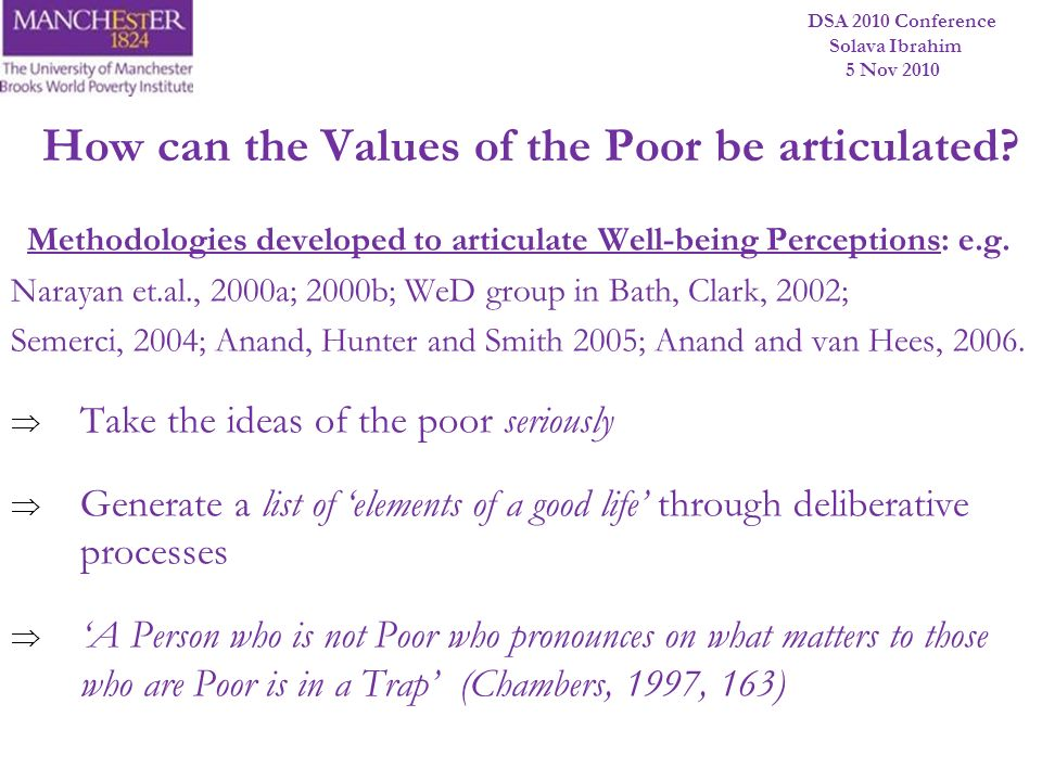 How can the Values of the Poor be articulated