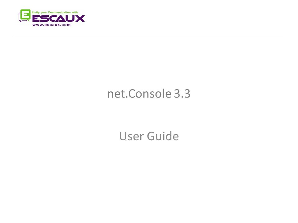 Net Console 3 3 The net Console User Manual User Guide