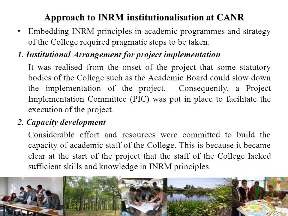 Approach to INRM institutionalisation at CANR