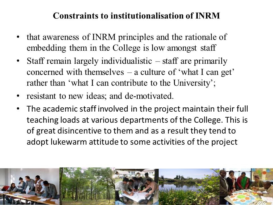 Constraints to institutionalisation of INRM