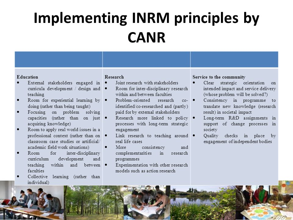 Implementing INRM principles by CANR