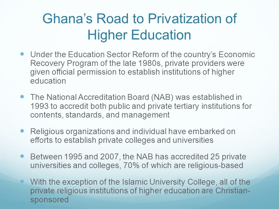 Ghana's Road to Privatization of Higher Education