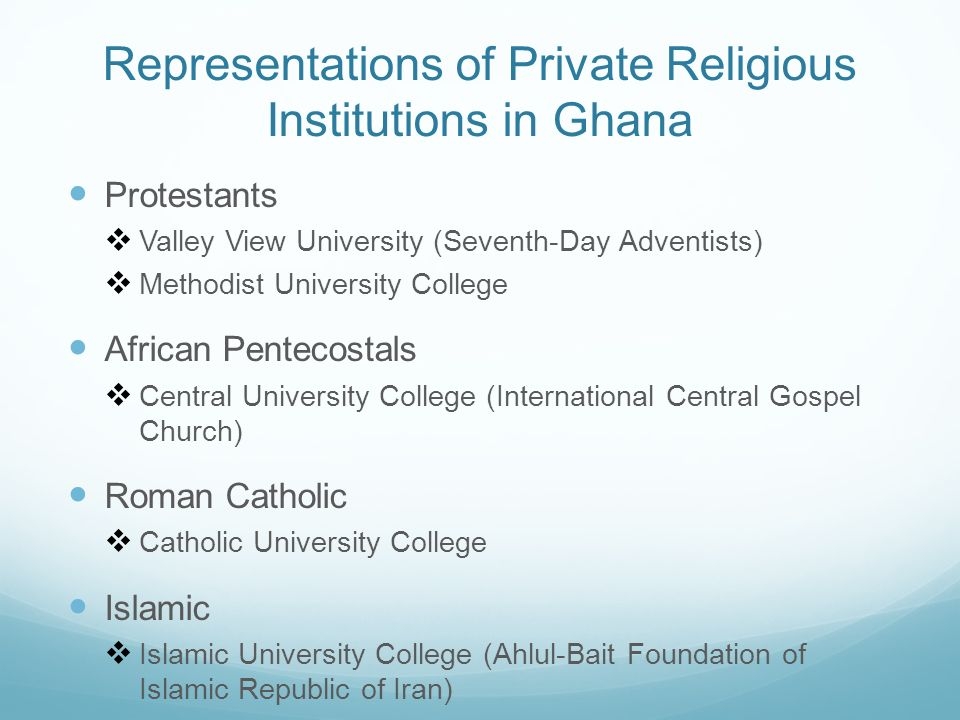 Representations of Private Religious Institutions in Ghana