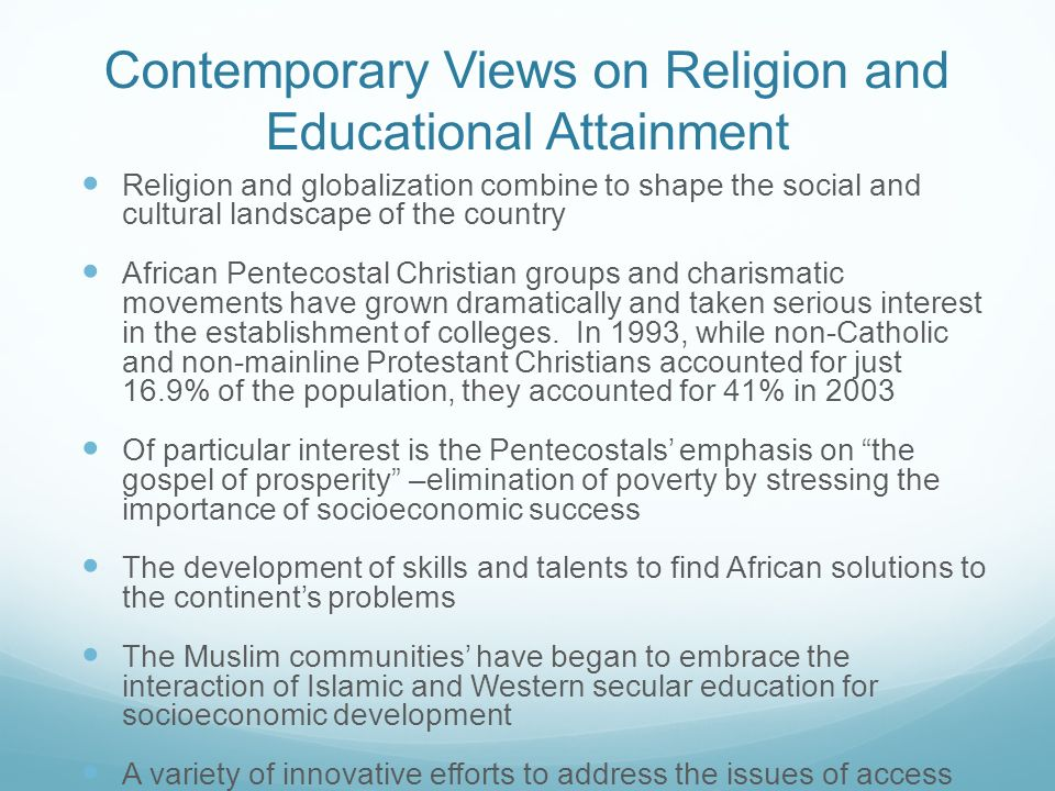Contemporary Views on Religion and Educational Attainment
