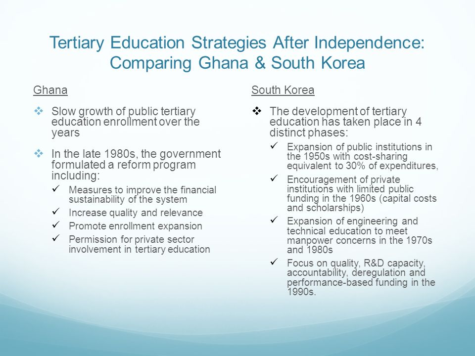 Tertiary Education Strategies After Independence: Comparing Ghana & South Korea