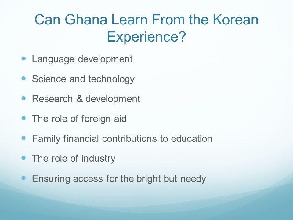 Can Ghana Learn From the Korean Experience