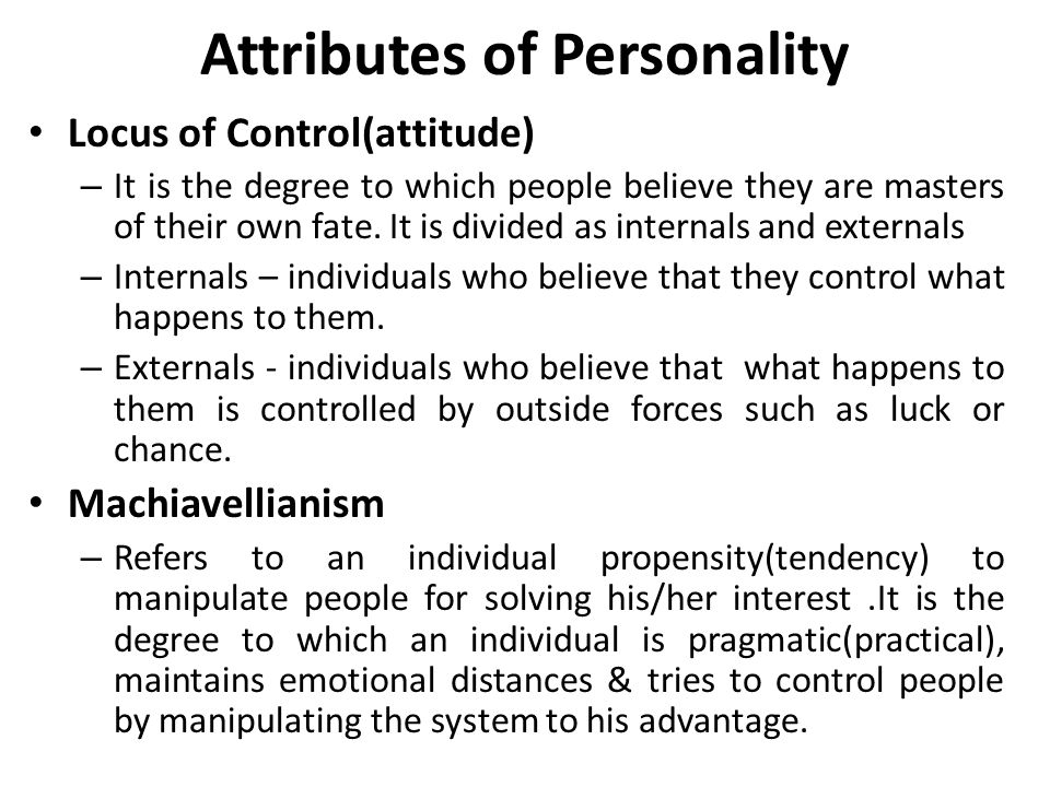 Attributes of Personality