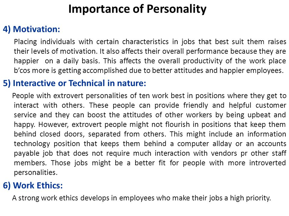 Importance of Personality