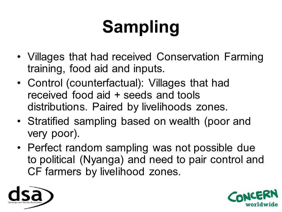 Sampling Villages that had received Conservation Farming training, food aid and inputs.