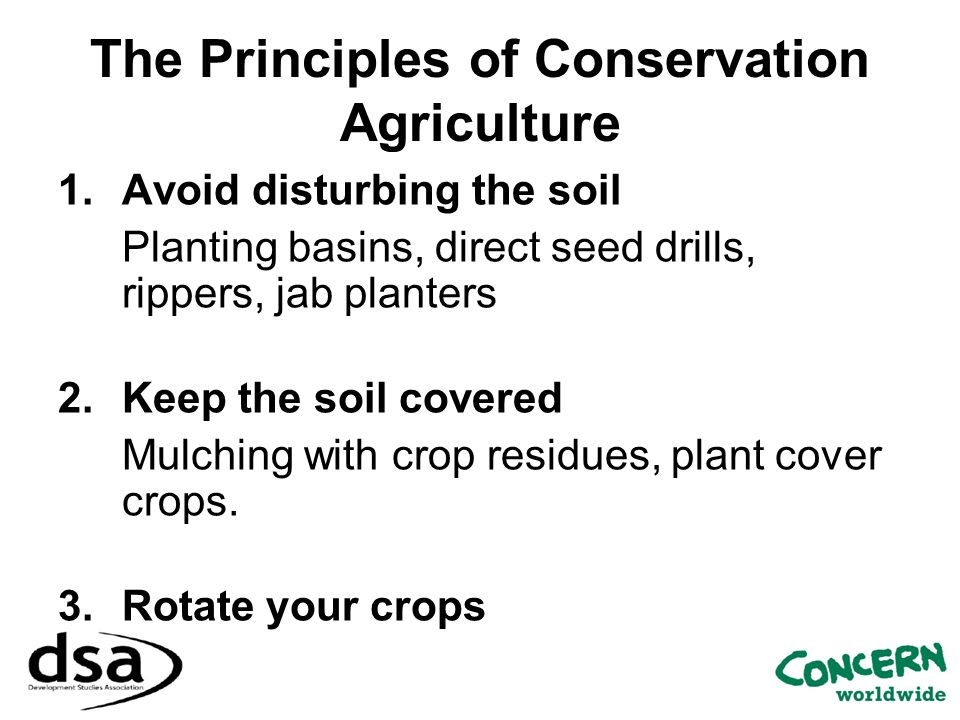 The Principles of Conservation Agriculture