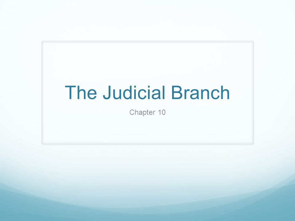 The Judicial Branch Chapter 10