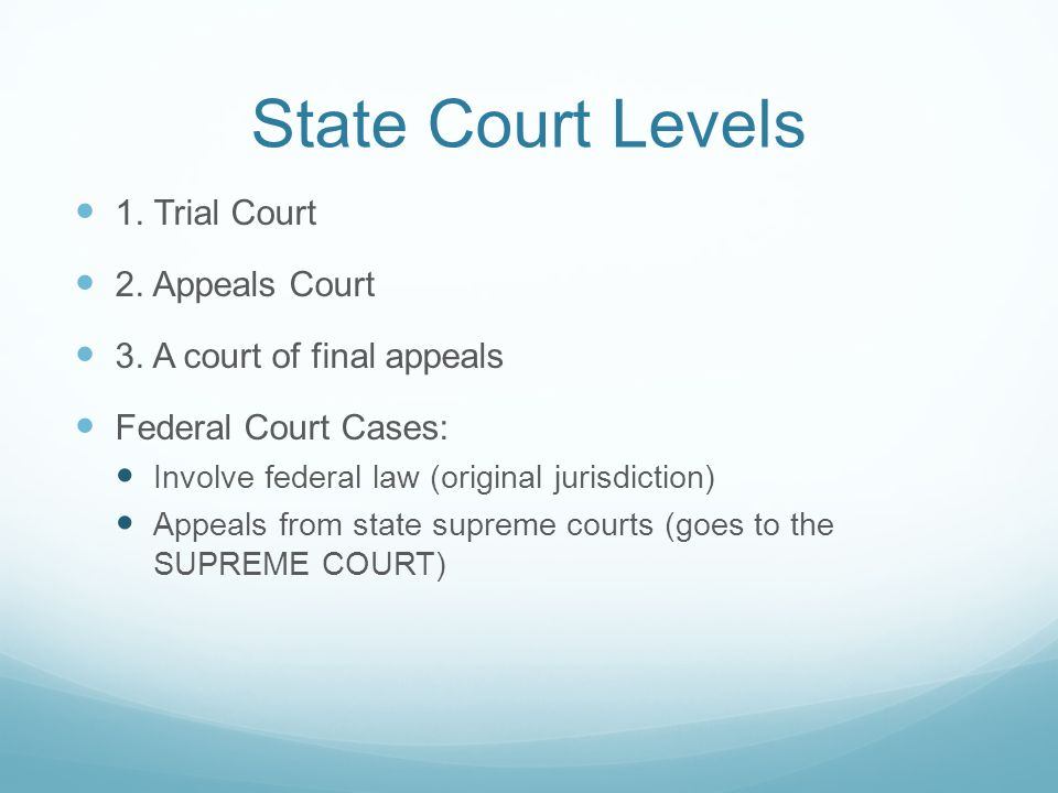 State Court Levels 1. Trial Court 2. Appeals Court