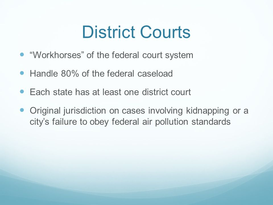District Courts Workhorses of the federal court system