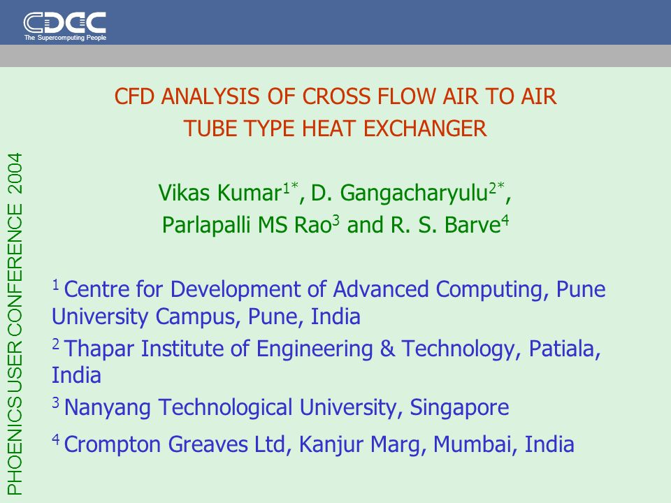 CFD ANALYSIS OF CROSS FLOW AIR TO AIR TUBE TYPE HEAT EXCHANGER