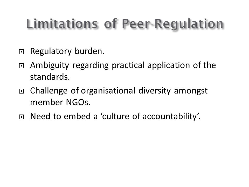 Limitations of Peer-Regulation