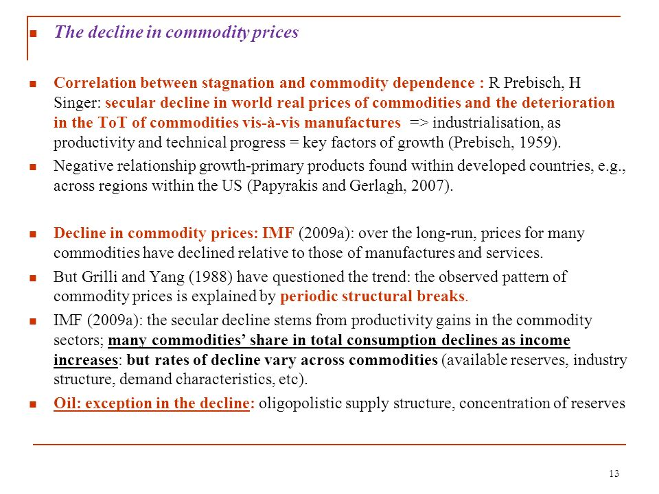 The decline in commodity prices