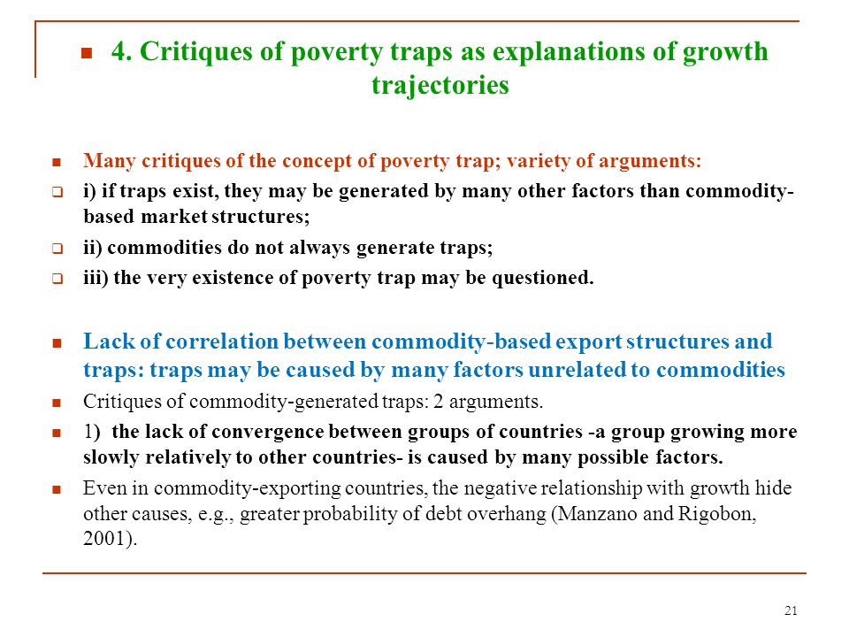 4. Critiques of poverty traps as explanations of growth trajectories