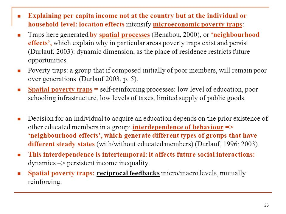 Explaining per capita income not at the country but at the individual or household level: location effects intensify microeconomic poverty traps: