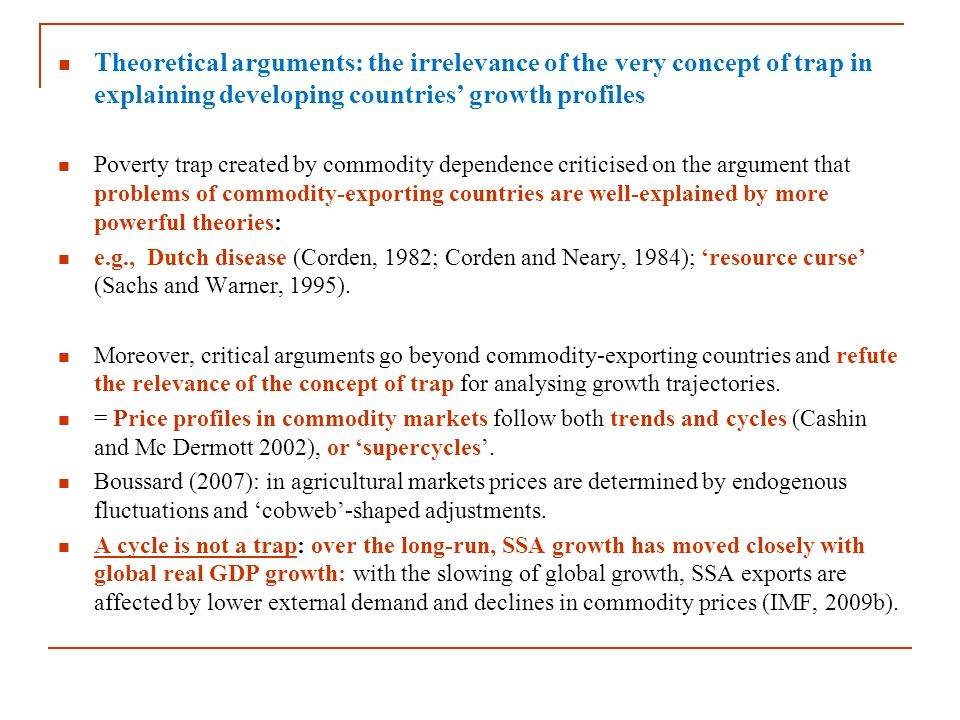 Theoretical arguments: the irrelevance of the very concept of trap in explaining developing countries' growth profiles