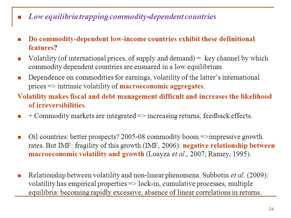 Low equilibria trapping commodity-dependent countries