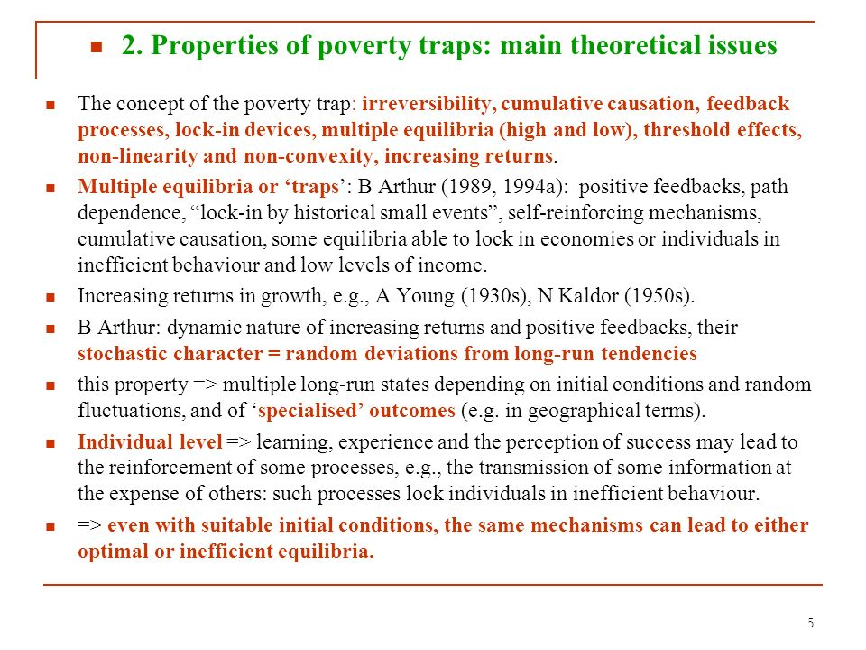 2. Properties of poverty traps: main theoretical issues